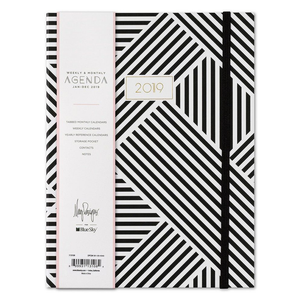 2019 Planner 8.26x 6 Black& White Pattern with Bungee - Blue Sky, Rich Charcoal