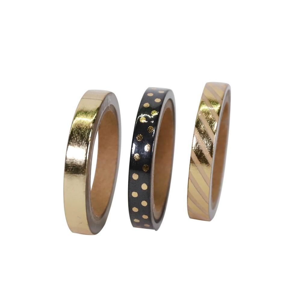 3ct Washi Tape Gold, Polka Dots, Stripe Novelty Gift Decoration Gold - Spritz