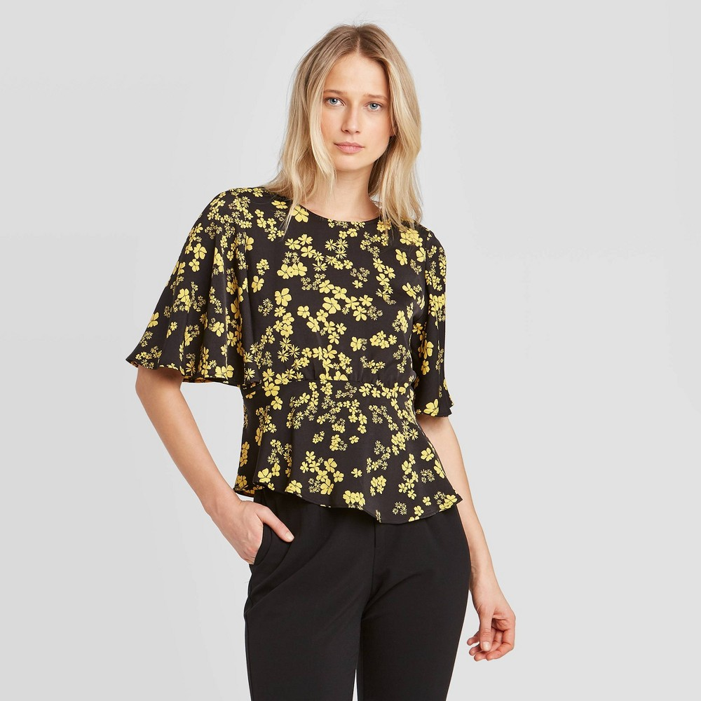 Women's Floral Print Short Sleeve Round Neck Blouse - Who What Wear Yellow M, Women's, Size: Medium was $24.99 now $17.49 (30.0% off)