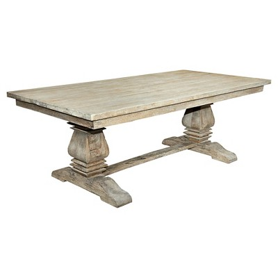 Sante Fe Balustrade Dining Table With Solid Top Wood/Rustic Mango Gray Wash    Casual Elements