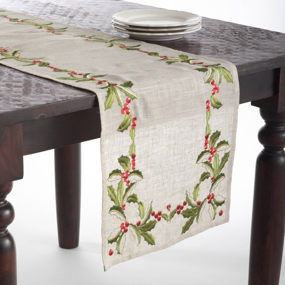 """16"""" X 90"""" Embroidered Holly Design Runner Natural Saro Lifestyle"""