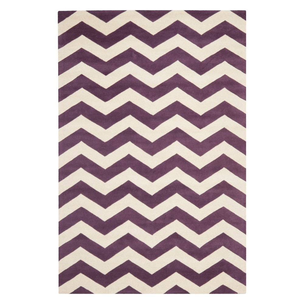6'X9' Chevron Area Rug Purple/Ivory - Safavieh