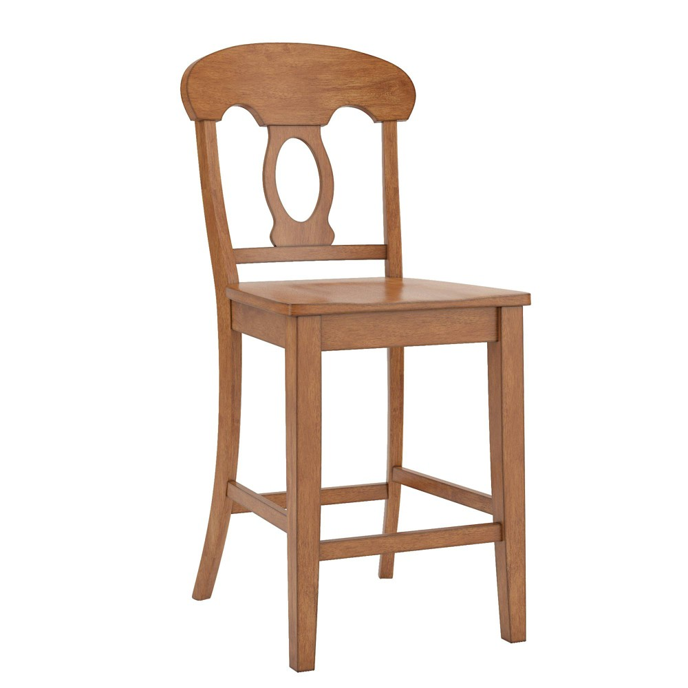South Hill Napoleon Back 24 in. Counter Chair (Set of 2) - Oak (Brown) - Inspire Q