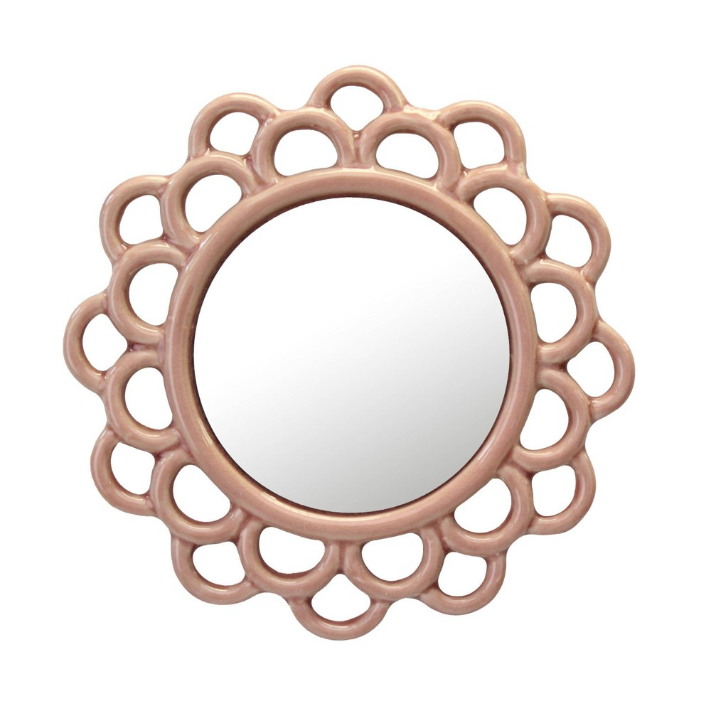 Image of Round Cutout Ceramic Decorative Wall Hanging Mirror Pink - Stonebriar Collection