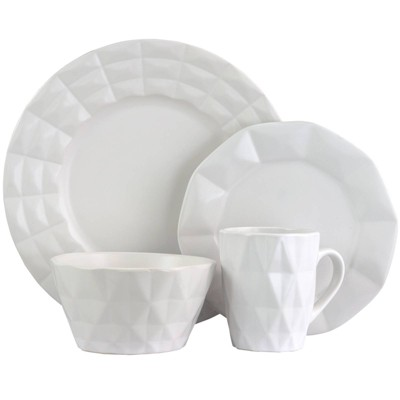 16pc Stoneware Diamond Cut Dinnerware Set White - Elama