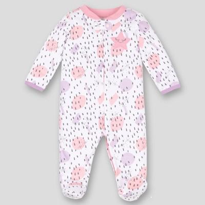 Lamaze Baby Girls' Star & Dot Printed Organic Cotton Sleep N' Play Union Suit - Pink 3M
