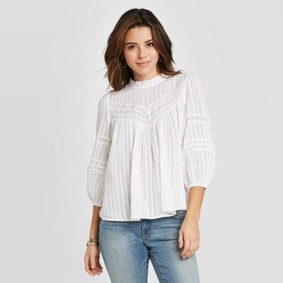 Women's 3/4 Sleeve Prairie Shirt - Universal Thread™ White XS