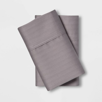 Standard 500 Thread Count Tri-Ease Printed Pattern Pillowcase Set Gray Herringbone - Threshold™
