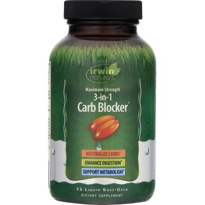 irwin naturals Maximum Strength 3-in-1 Carb Blocker Dietary Supplement Liquid Softgels - 75ct