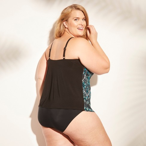 e80a7795c0a Women's Plus Size Halter Tankini Top - Aqua Green® Blue Print 20W ...