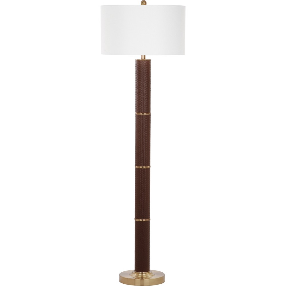 Marcello 60.5Inch H Faux Woven Leather Floor Lamp Brown - Safavieh