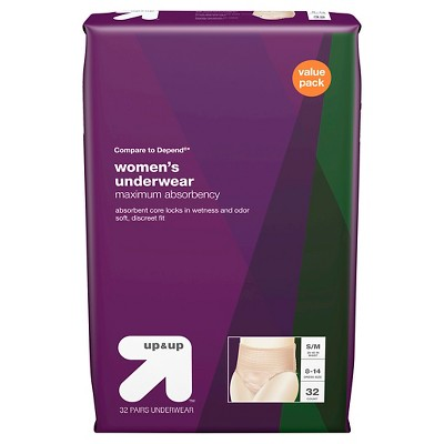 Incontinence Underwear for Women Small/Medium, 32ct- Up&Up™ (Compare to Depend)