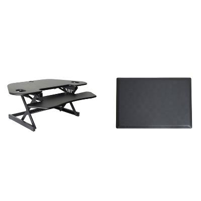 "46"" Corner Adjustable Desk Riser with Medium Energizing Mat Black - Rocelco"