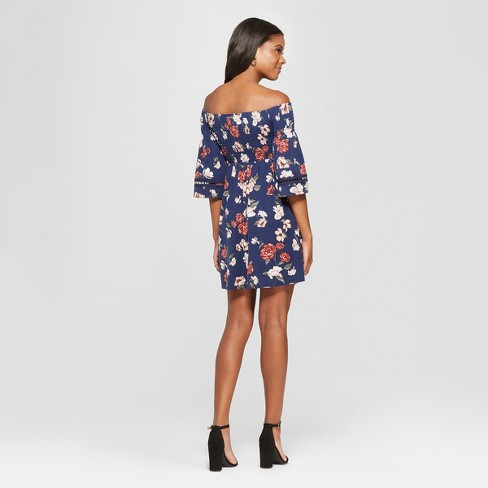 b030acea1c6 Women's Floral Print Long Sleeve Smocked Top Off The Shoulder Knit Dress -  Xhilaration™ : Target