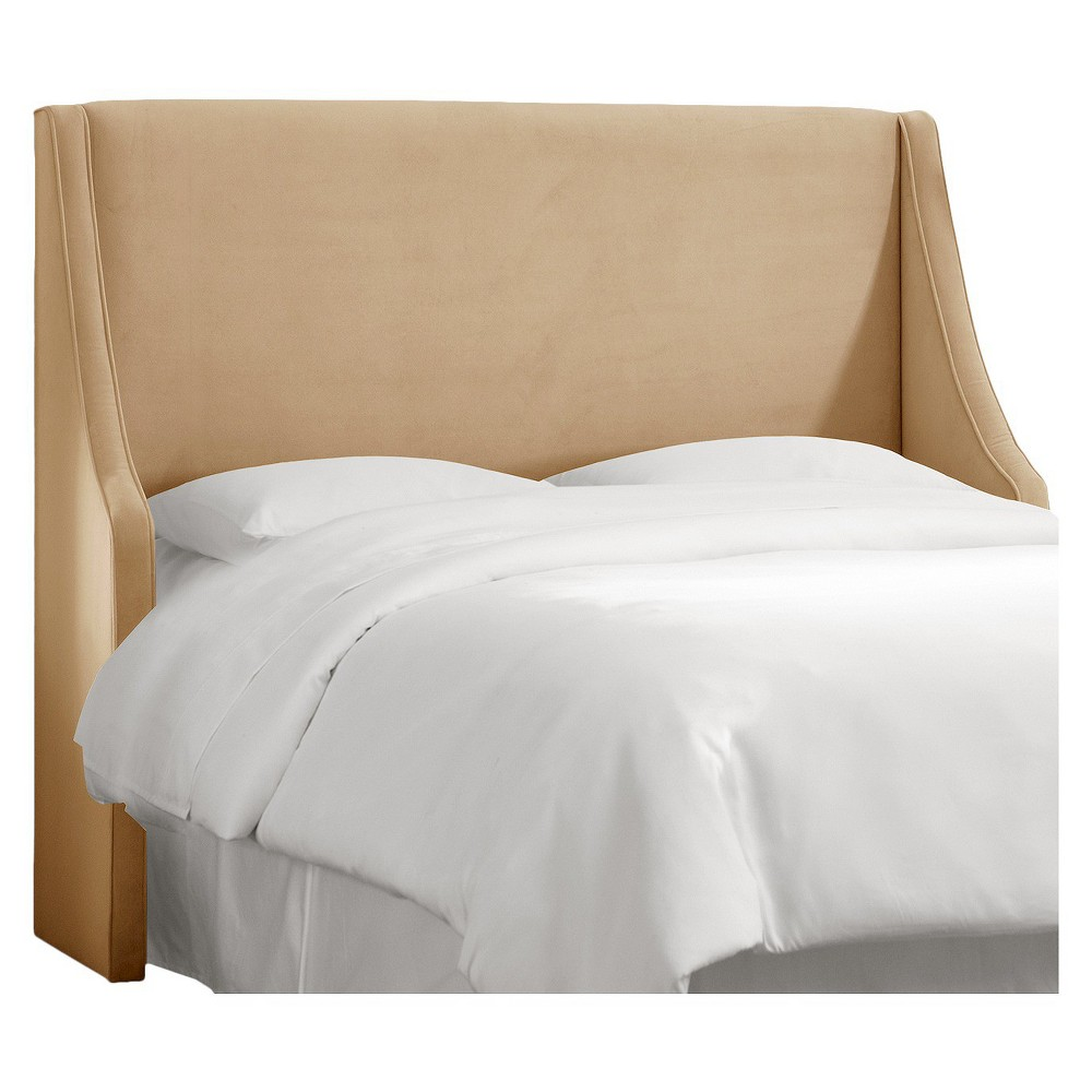 California King Swoop Arm Wingback Headboard Velvet Buckwheat - Skyline Furniture