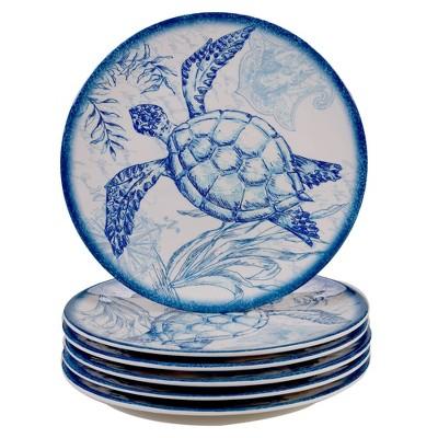 "9"" 6pk Melamine Oceanic Salad Plates Blue - Certified International"