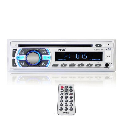 Pyle PLCD43BTM Single DIN Marine Bluetooth Receiver, Stereo System, and CD Player with Remote Control, Hands Free Calling, and Detachable Face, White