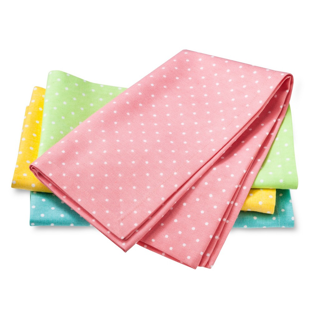 Easter Polka Dot Napkins - Multi-Colored (Set of 4), Green/Yellow/Pink/Blue