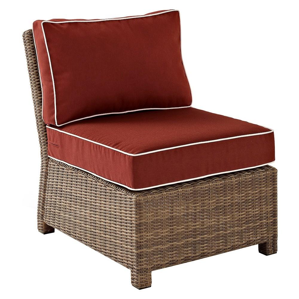 Crosley Bradenton Outdoor Wicker Sectional Center Chair w/Sangria Cushions