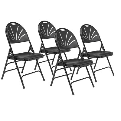 Set of 4 Deluxe Fan Back with Triple Brace Folding Chairs - Hampton Collection