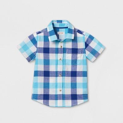 Toddler Boys' Short Sleeve Button-Down Shirt - Cat & Jack™ Blue 4T