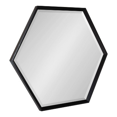 "30"" x 35"" Calder Hexagon Wall Mirror Black - Kate & Laurel All Things Decor"