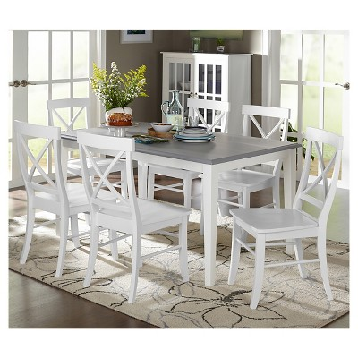 Ordinaire Helena Dining Set White/Gray 7 Piece   TMS