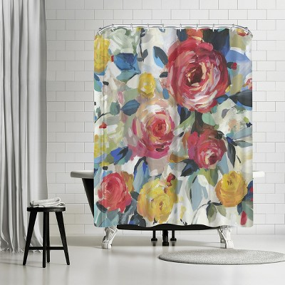 """Americanflat Red Roses by Pi Creative Art 71"""" x 74"""" Shower Curtain"""