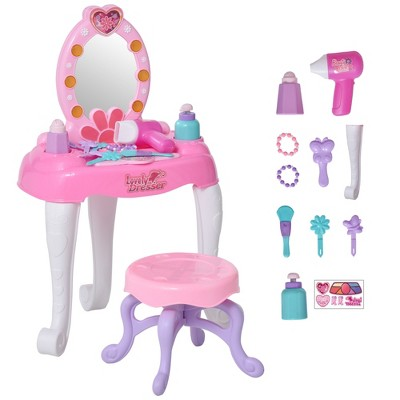 Qaba Kids Vanity Table and Chair Beauty Pretend Play Set with Mirror Lights Sounds & Pretend Beauty Makeup Accessories for Girls 3+ Years Old
