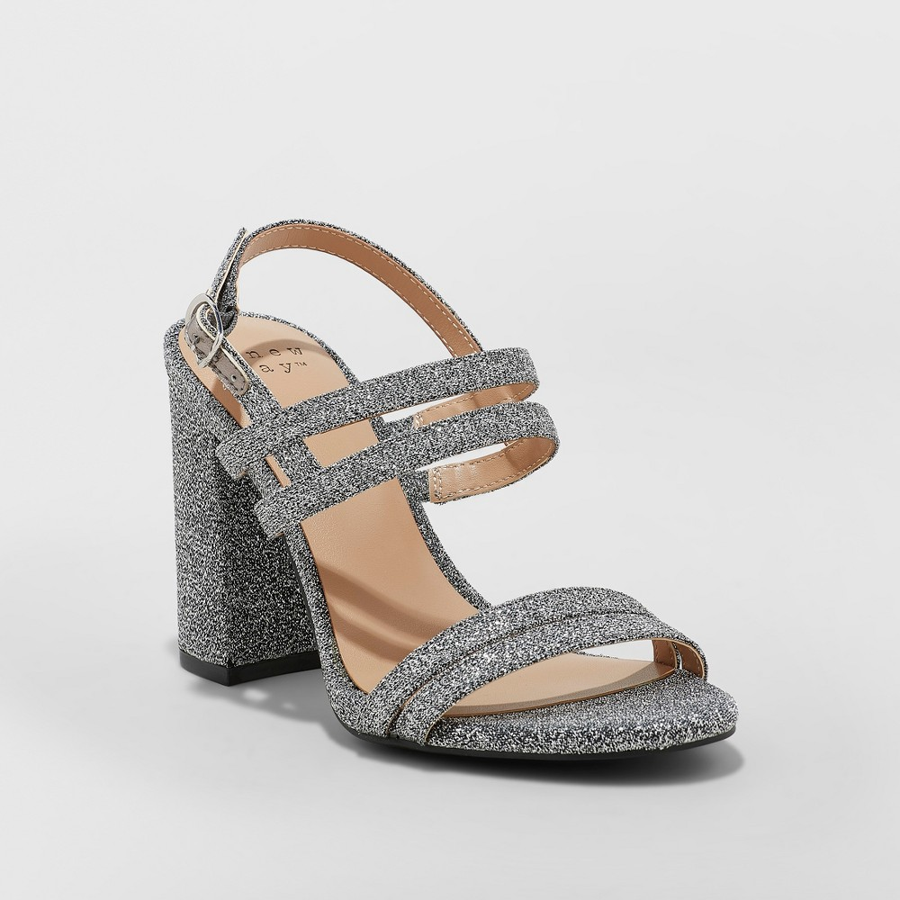 Women's Estella Strappy Stiletto Heeled Sandal Pumps - A New Day Silver 5