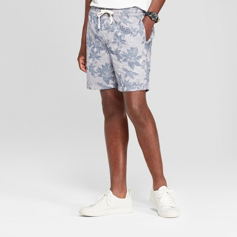 """Men's 8"""" Floral Elastic Waist Shorts - Goodfellow & Co™ Navy S - image 1 of 3"""