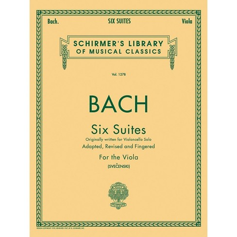 G. Schirmer 6 Suites for Unaccompanied Viola Originally for Violoncello By Bach - image 1 of 1
