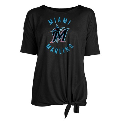 MLB Miami Marlins Women's Poly Rayon Front Knot T-Shirt
