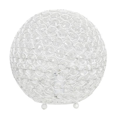 "10"" Elipse Crystal Ball Sequin Table Lamp White - Elegant Designs"