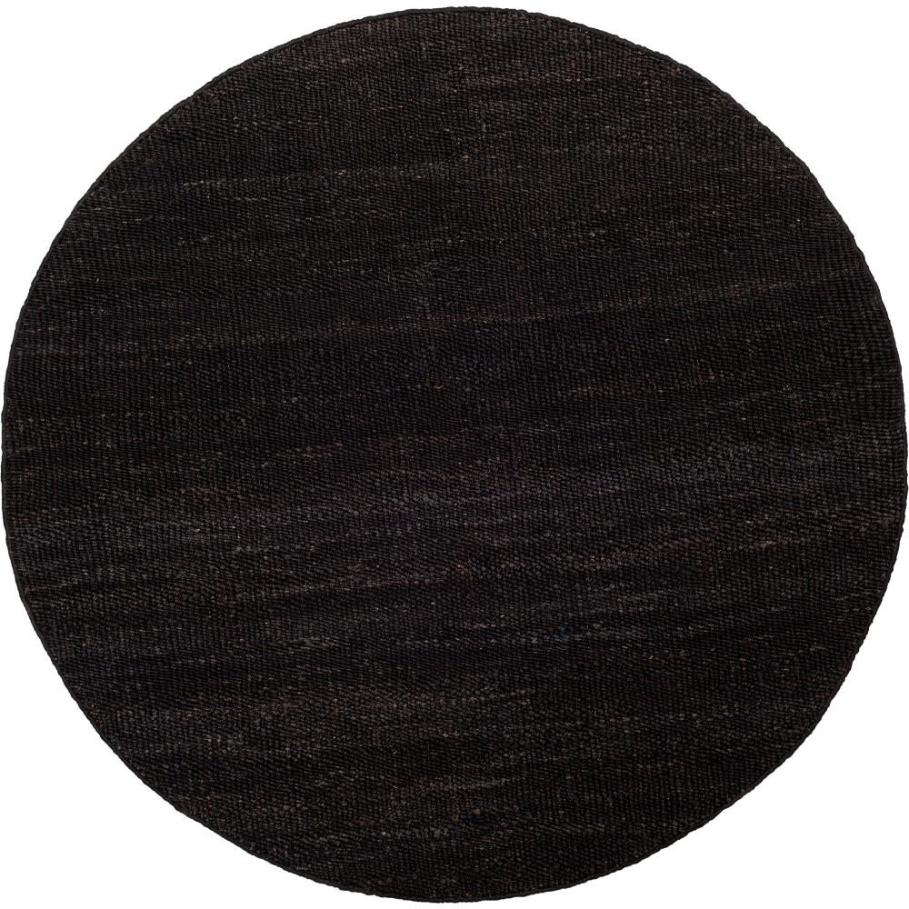 6' Solid Woven Round Area Rug Black - Safavieh