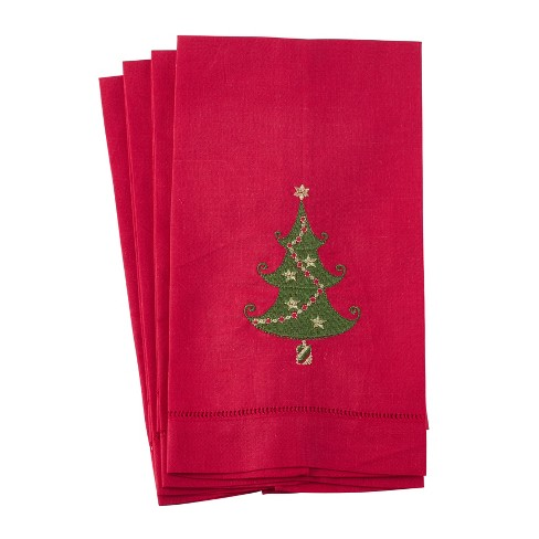 Embroidered Christmas Tree Design Hemstitched Linen - Saro Lifestyle - image 1 of 2