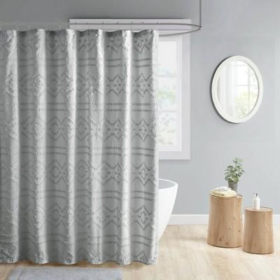 Jemma Clipped Jacquard Shower Curtain Gray