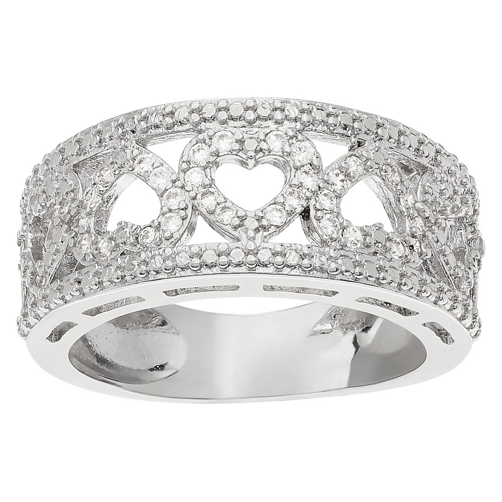 2/5 CT. T.W. Round-cut Cubic Zirconia Cut-out Heart Pave Set Band in Sterling Silver - Silver, 6