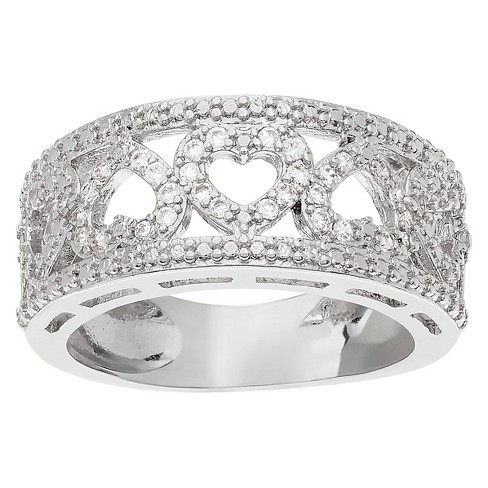 2/5 CT. T.W. Round-cut Cubic Zirconia Cut-out Heart Pave Set Band in Sterling Silver - Silver - image 1 of 2
