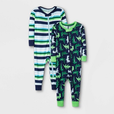 Toddler Boys' 2pk Alligator 100% Cotton Pajama Jumpsuit - Cat & Jack™ Green