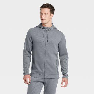 Men's Textured Fleece Premium Full-Zip Hoodie - All in Motion™ Gray M