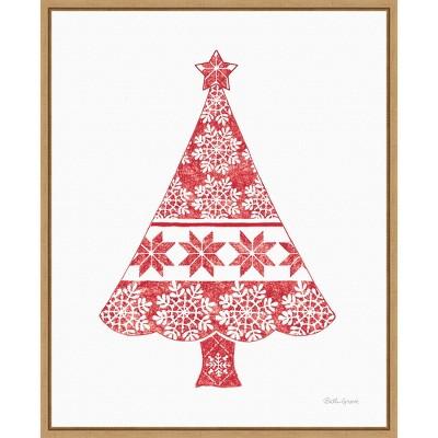 "16"" x 20"" Nordic Holiday Christmas Tree by Beth Grove Framed Canvas Wall Art - Amanti Art"