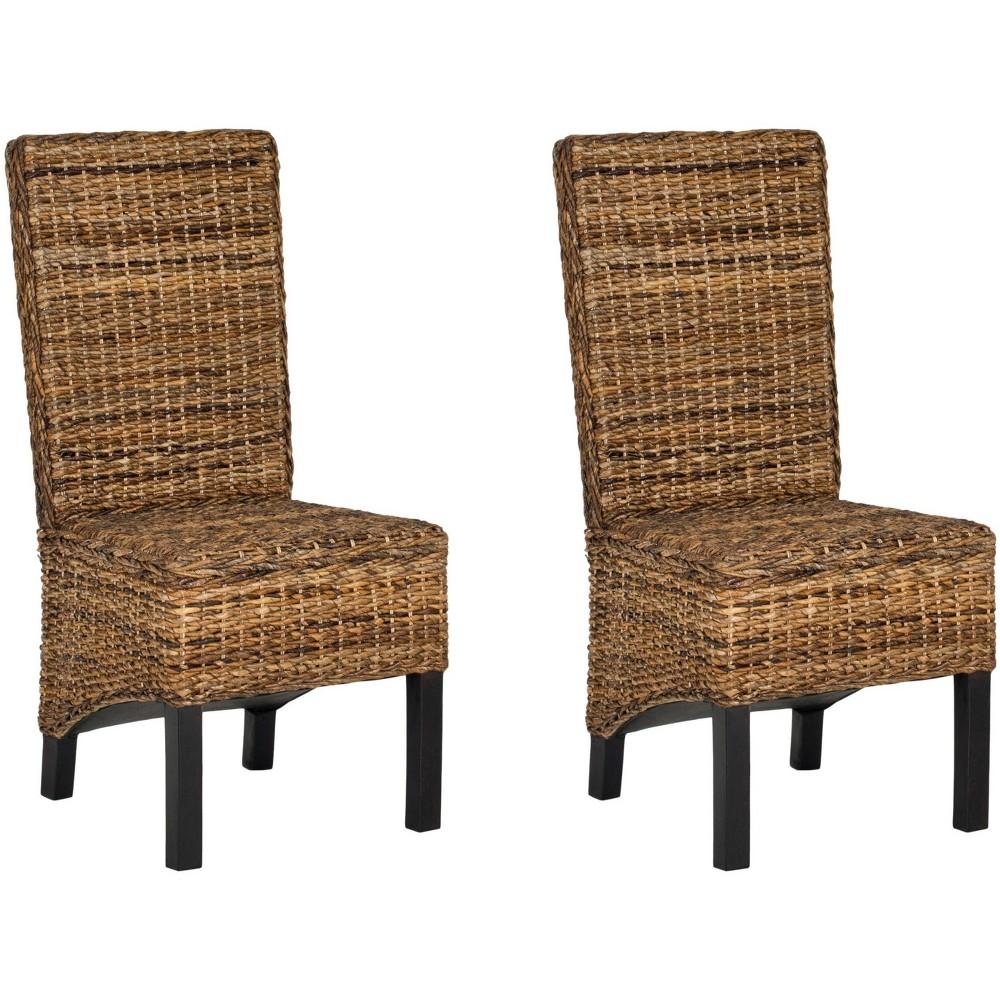 Pembrooke Dining Chair Wood/Natural/Black (Set of 2) - Safavieh
