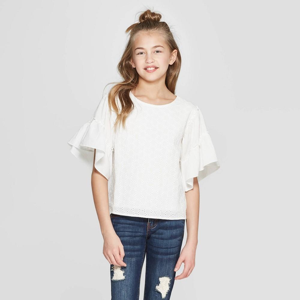 Girls' Eyelet Flutter Sleeve Top - art class White Xxl