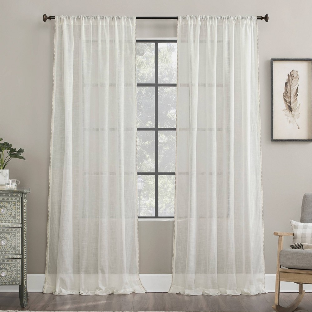 "Image of ""50""""x63"""" Embroidered Border Cotton Sheer Curtain White - Archaeo, Size: 50""""x63"""""""