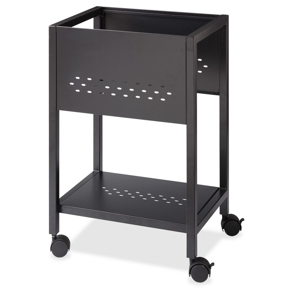 Lorell Vertical Filing Cabinet, Mobile Cart, 18, Steel - Black