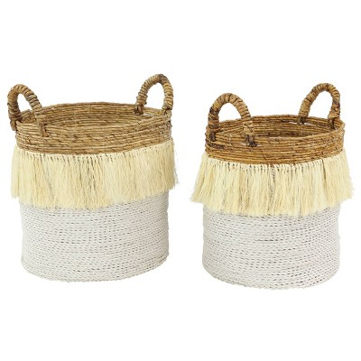 CosmoLiving by Cosmopolitan Set of 2 Seagrass Storage Baskets White