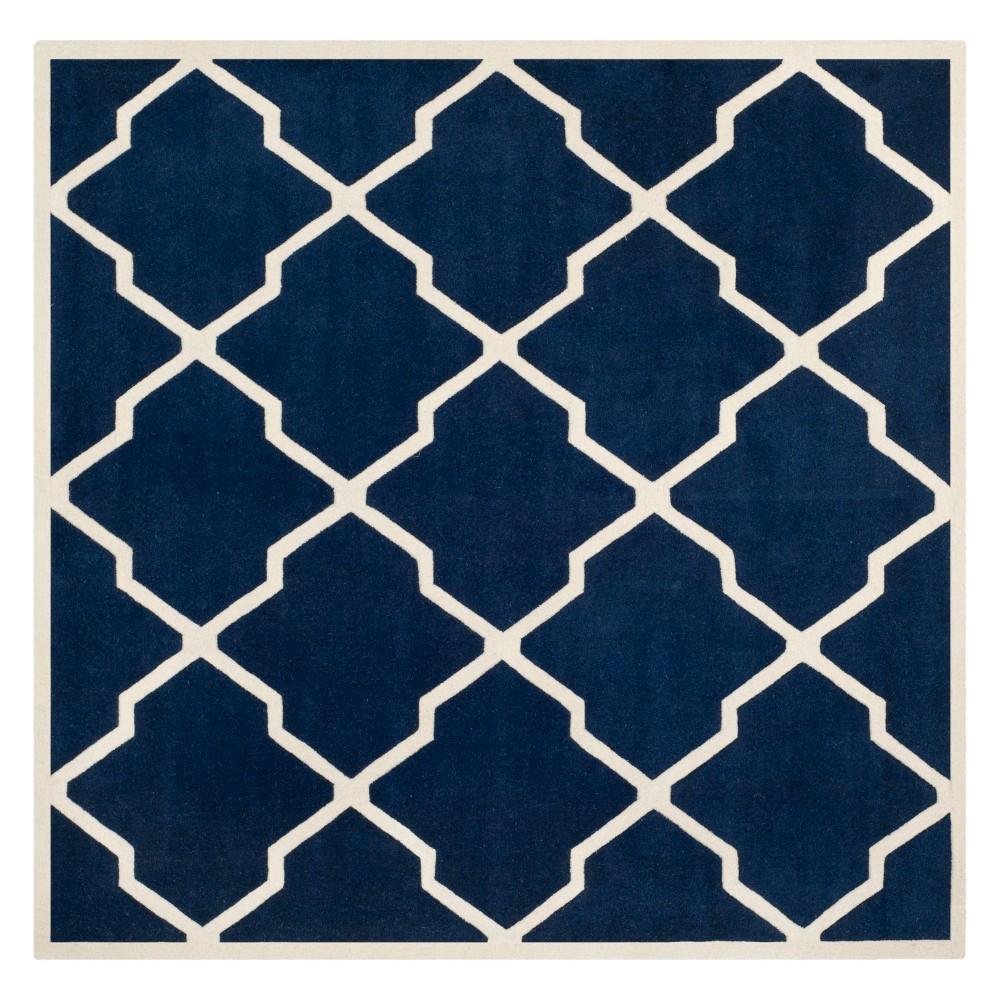 9'X9' Quatrefoil Design Tufted Square Area Rug Dark Blue/Ivory - Safavieh