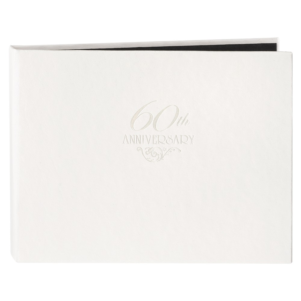 Image of 60th Anniversary Guest Book - White