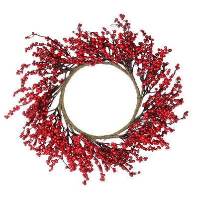 """Northlight 22"""" Unlit Red Berries Artificial Christmas Wreath"""